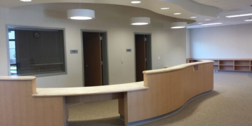 L Reception desk & soffit